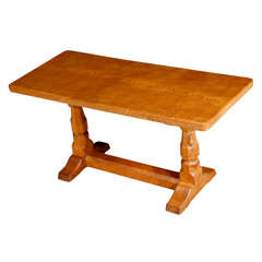 "Robert ""Mouseman"" Thompson oak rectangular coffee table, England circa 1950"