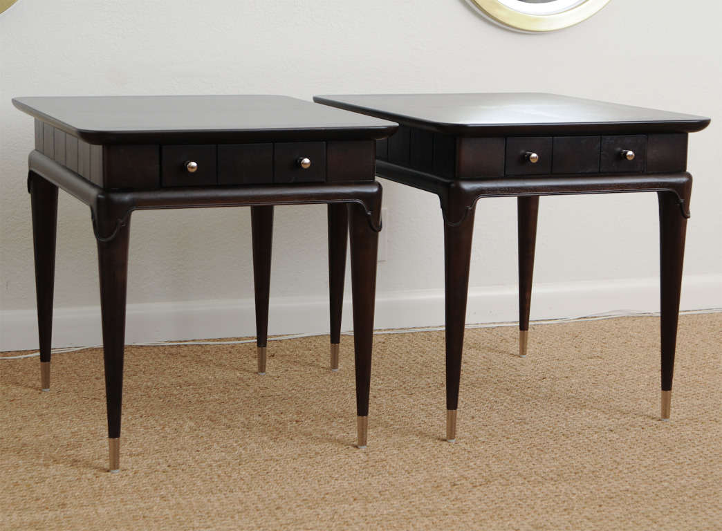 Pair of elegant midcentury tapered leg side tables image