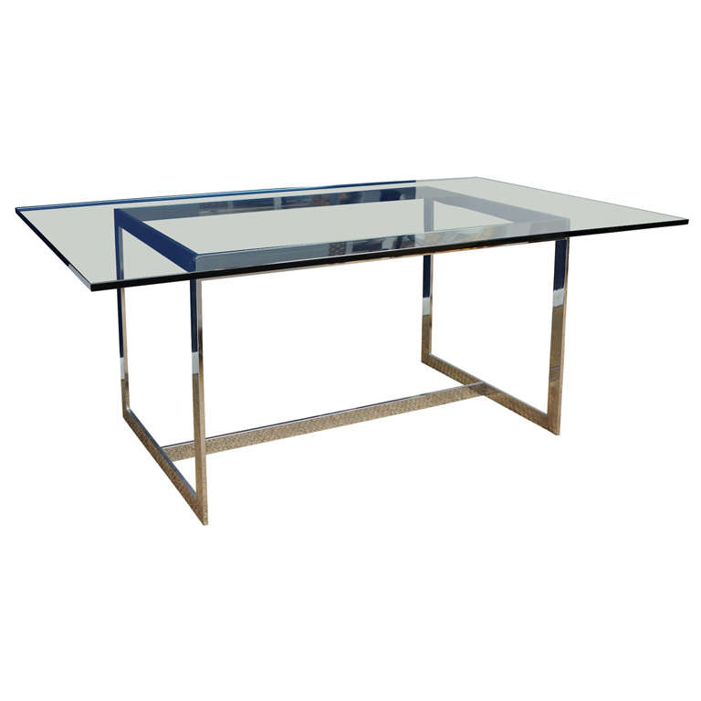 Milo Baughman Polished Steel And Glass Dining Table At 1stdibs