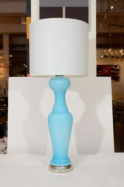 Pair of Sky Blue Murano Glass Lamps 2