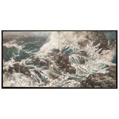 Japanese Screen of Crashing Waves in Craggy Seascape.