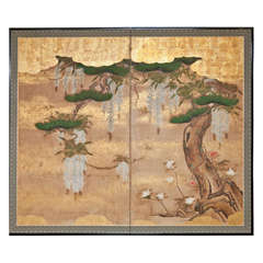 Japanese Two Panel Screen: Wisteria and Pine