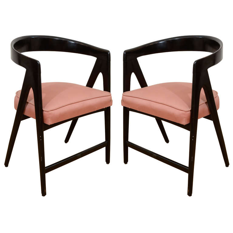Pair Of Barrel Arm Chairs At 1stdibs