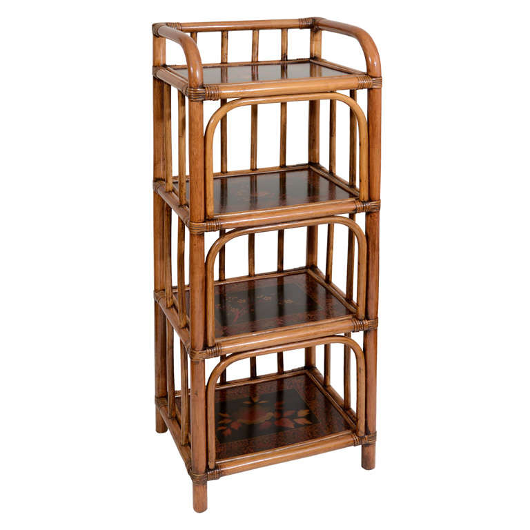 Four tier bamboo and black lacquer etagere england c 1900 at 1stdibs - Etagere cases carrees ...