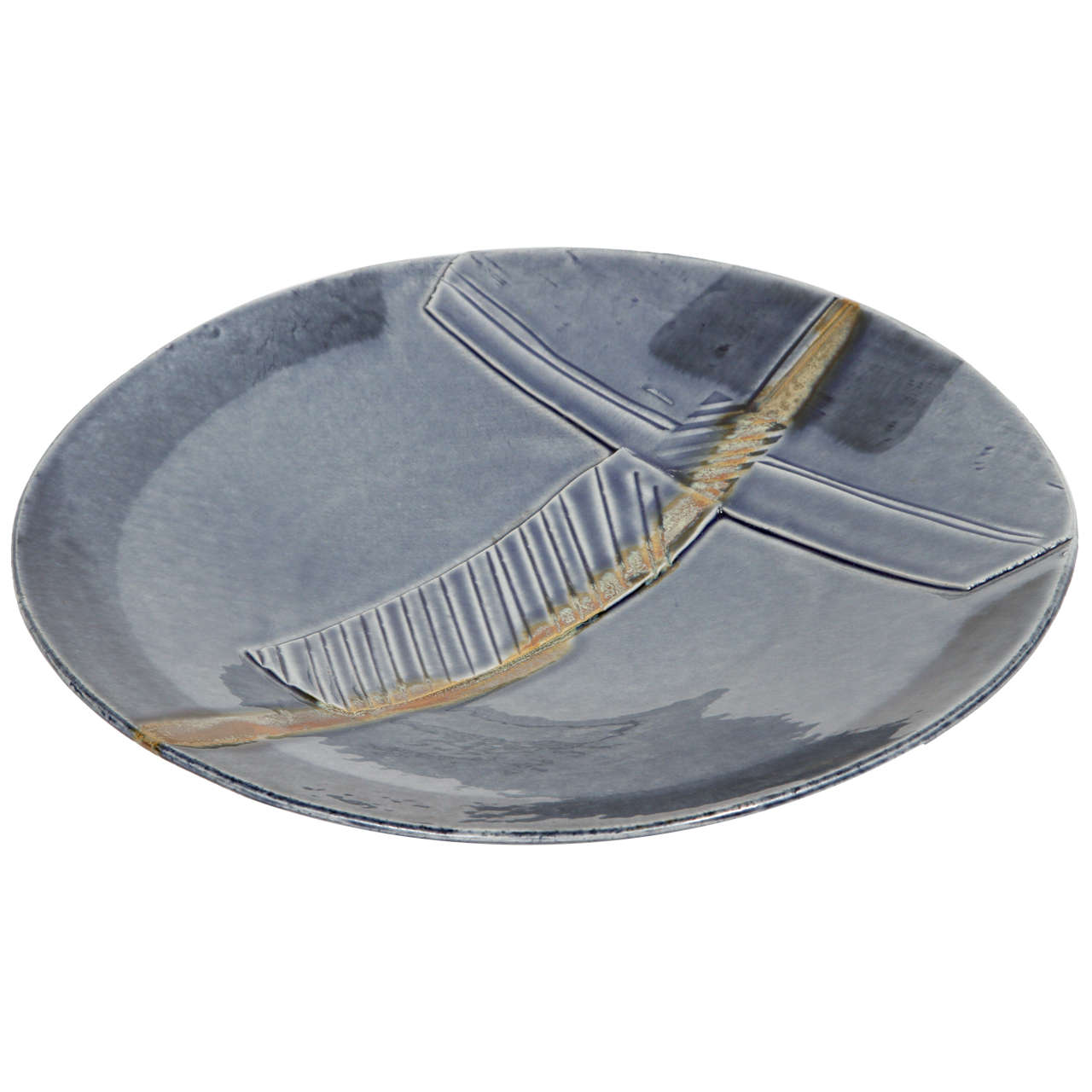 Handcrafted Art Studio Large Blue Ceramic Charger with Modern Design
