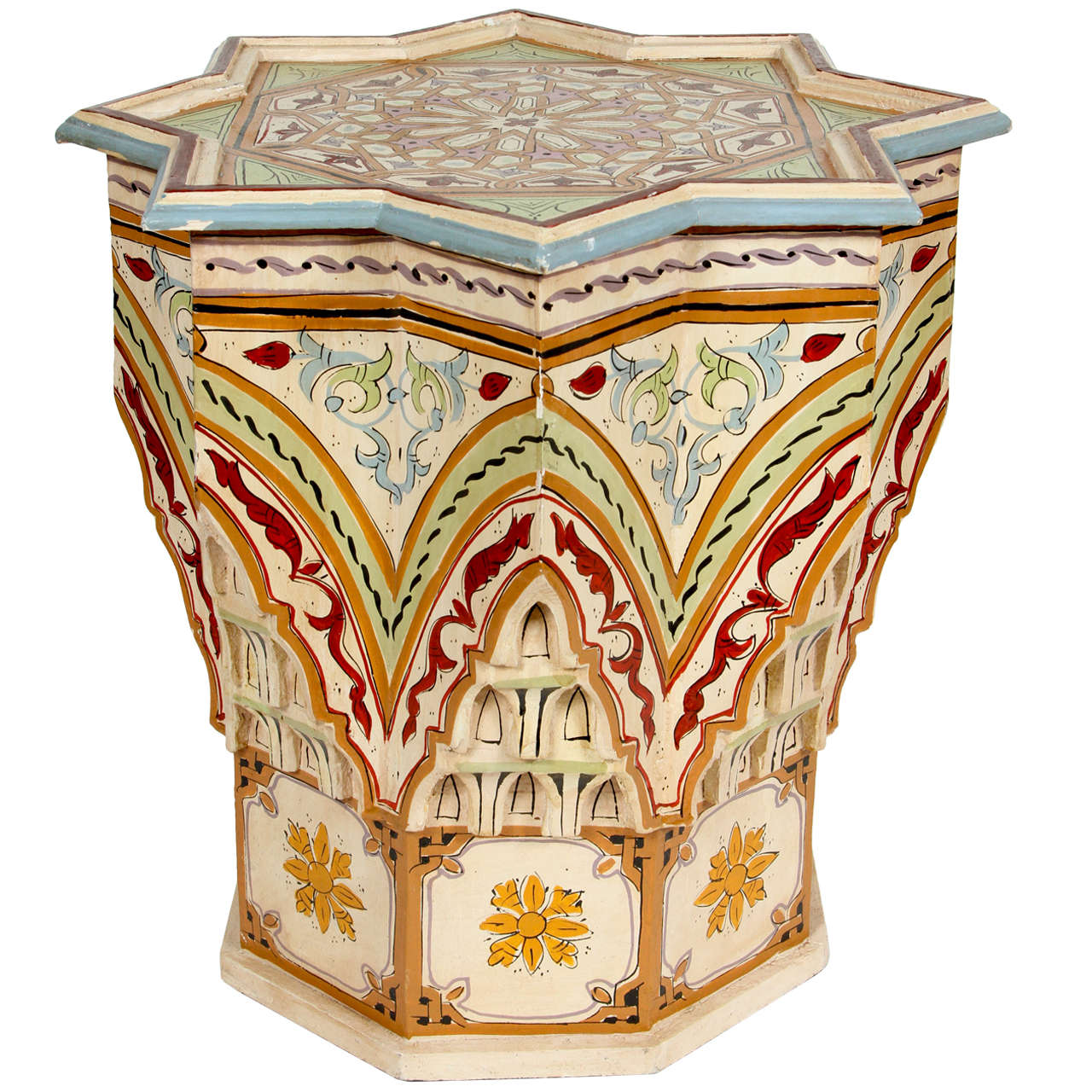 Moroccan hand painted side table at 1stdibs for Moroccan hand painted furniture