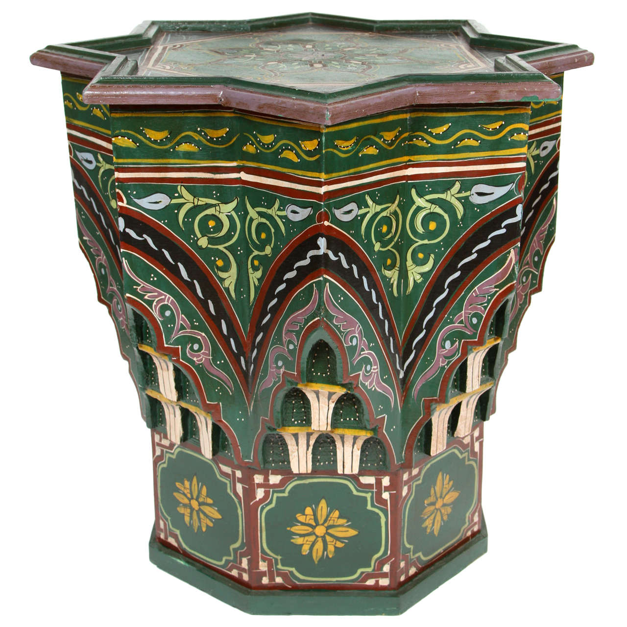 Moroccan hand painted green star shape side table at 1stdibs for Moroccan hand painted furniture
