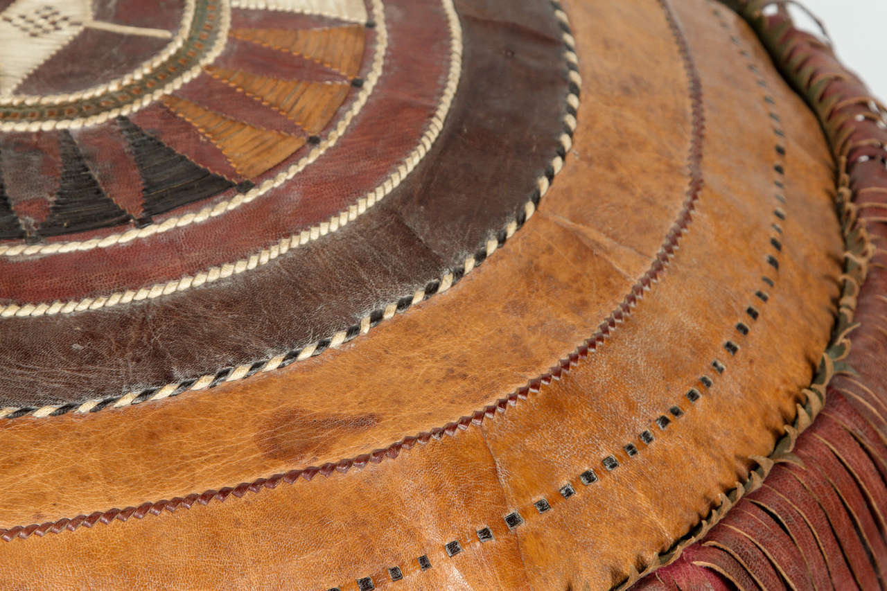 Leather African Tribal Pouf At 1stdibs