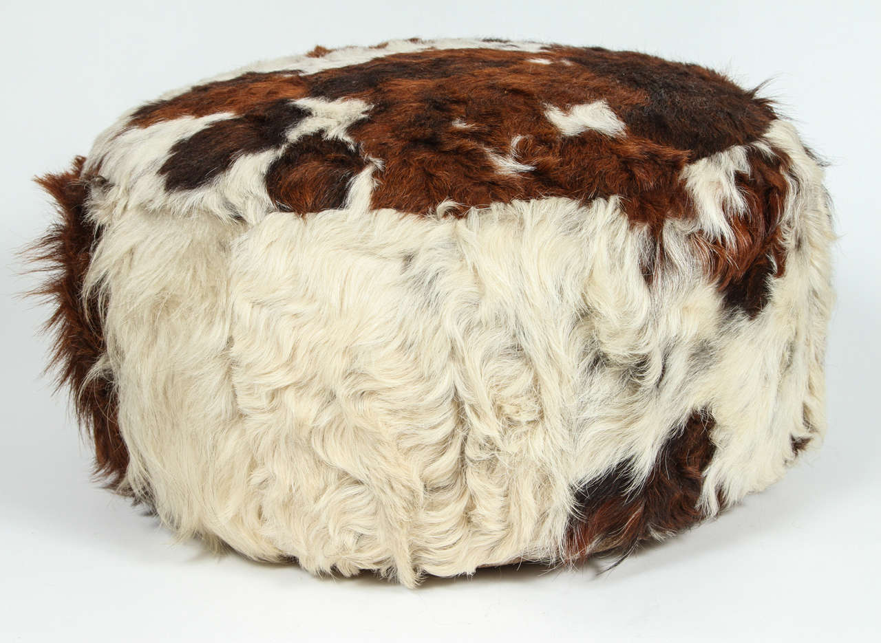 Cowhide Leather Pouf Ottoman At 1stdibs