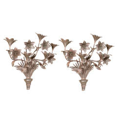 Tole Decorative Flower Bouquets Sconces