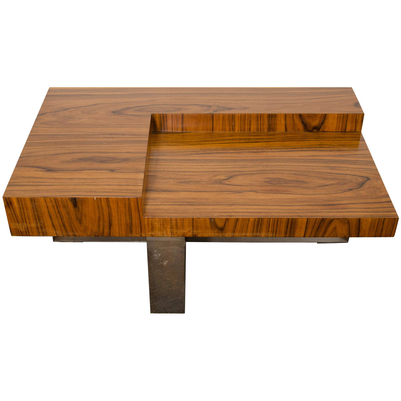 mid-century milo baughman style wood coffee or cocktail table w