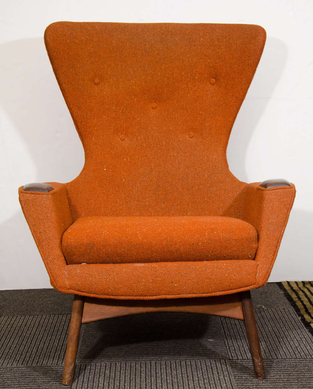 A Vintage High Back Sculptural Wing Chair In Original Orange Fabric By  Designer Adrian Pearsall.