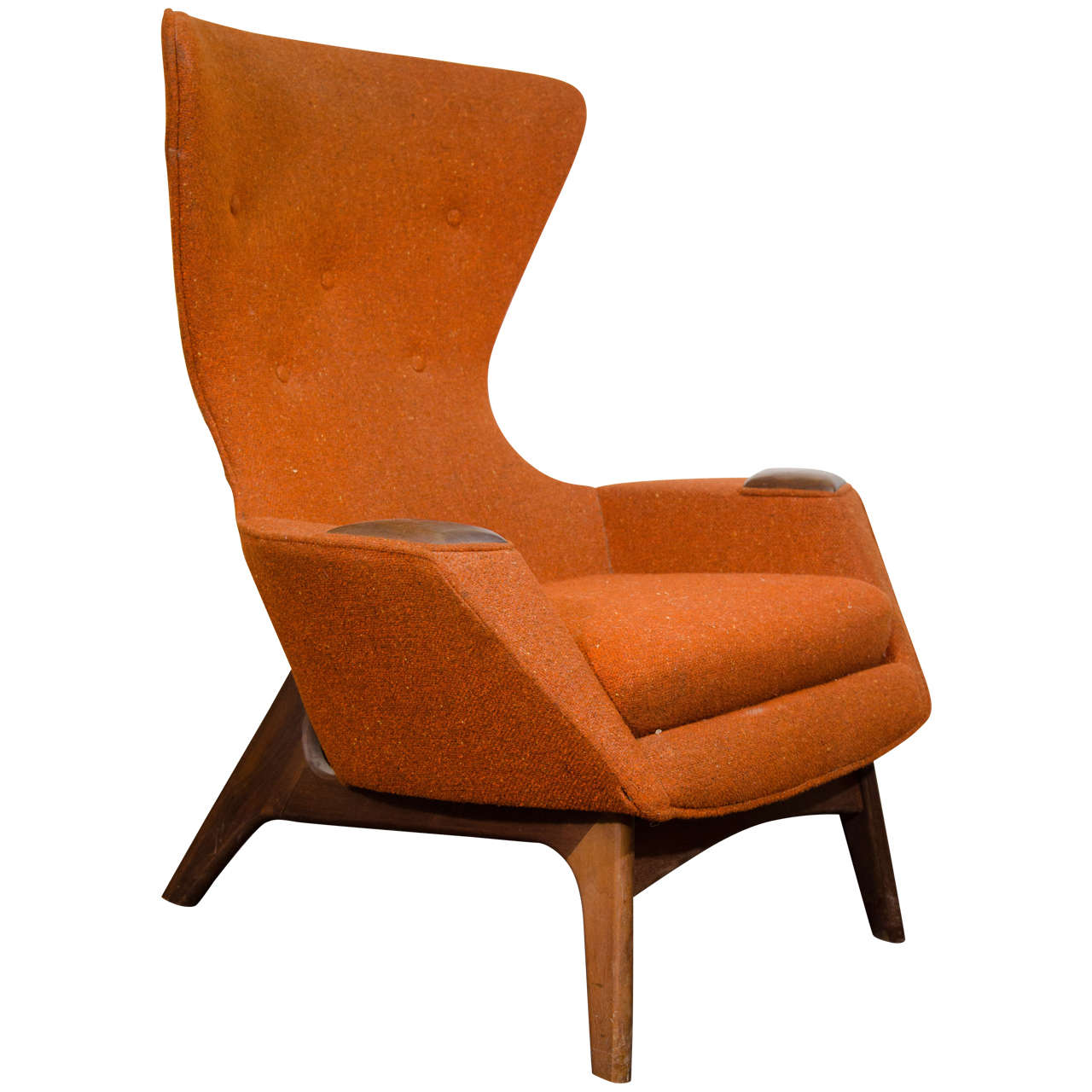 Mid Century Modernist High Back Or Desk Chair W New: Midcentury High Back Wing Chair By Adrian Pearsall At 1stdibs