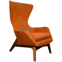 Midcentury High Back Wing Chair by Adrian Pearsall