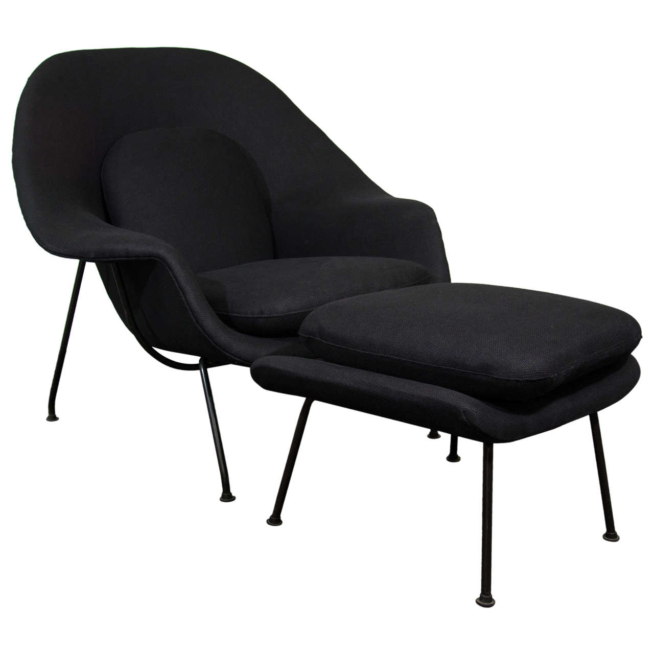 midcentury womb chair and ottoman by eero saarinen for knoll at