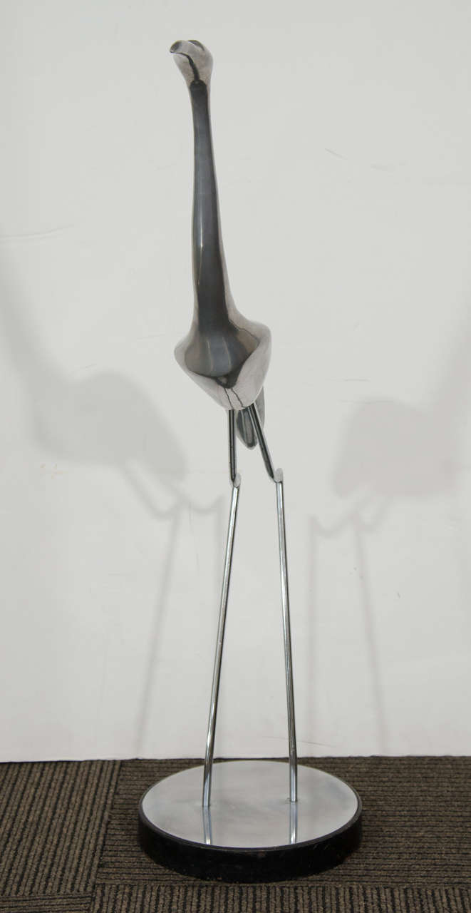 Late 20th Century Mid-Century Stainless Steel Crane Sculpture by Curtis Jere For Sale