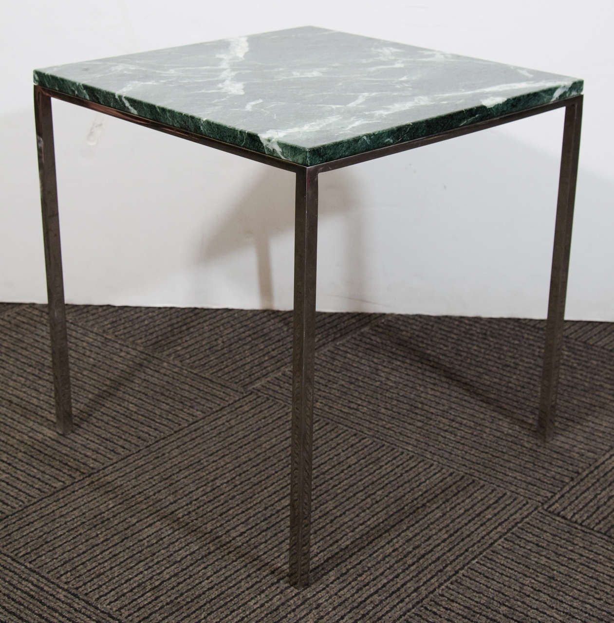 Fabulous Midcentury Knoll Square Side Table with Green Marble Top at 1stdibs BE21