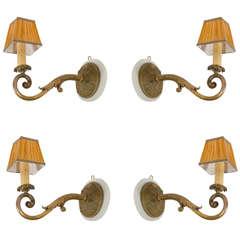 Set of Four French Dore Bronze Sconces