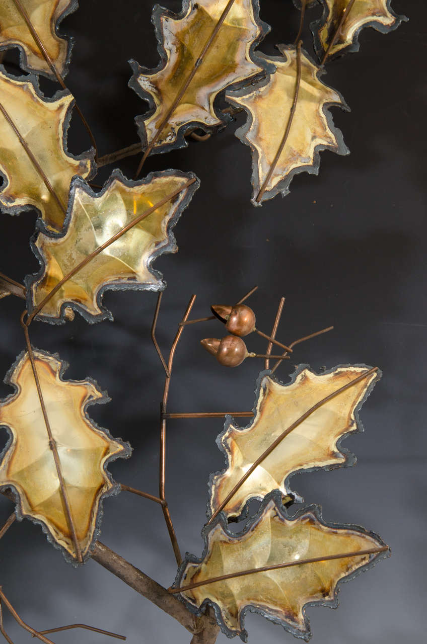 Midcentury Curtis Jere Wall Sculpture of Leaves 6