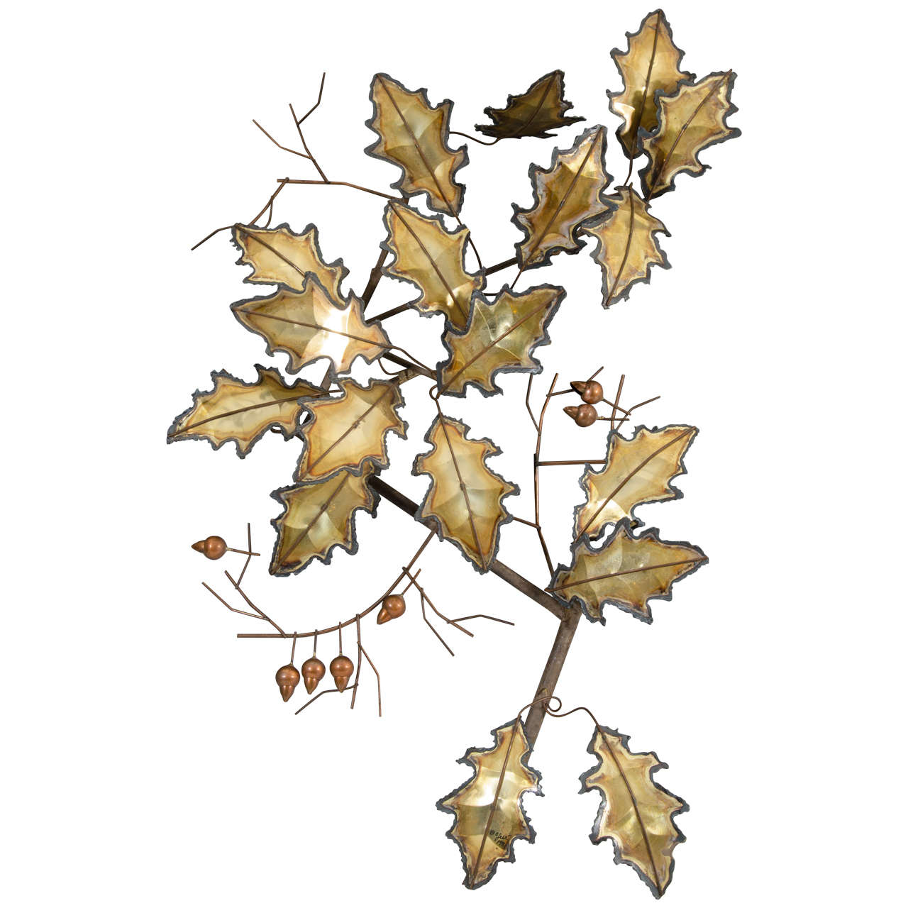 Midcentury Curtis Jere Wall Sculpture of Leaves 1