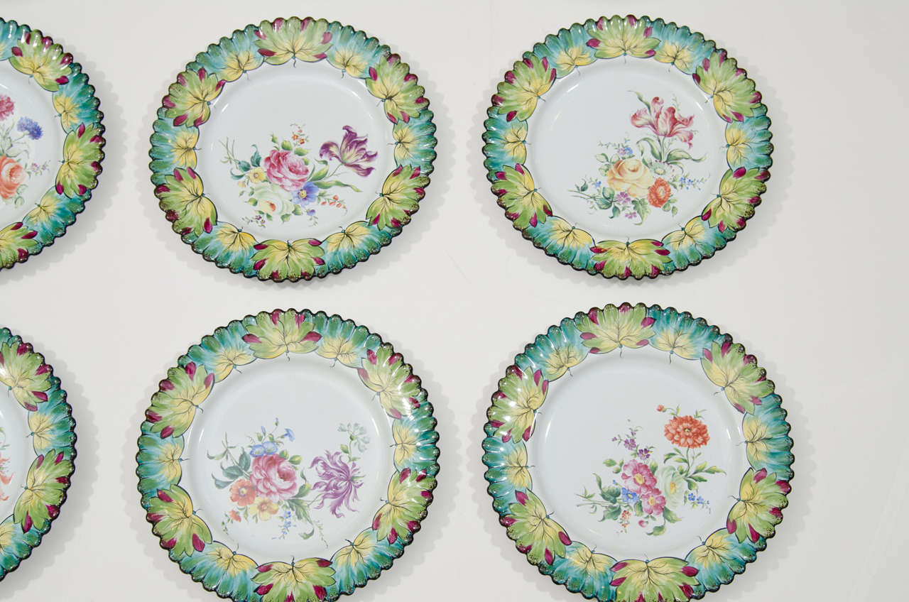 French Vintage Set of Twelve Hand-Painted Tiffany & Co. Plates by Camille Le Tallec For Sale