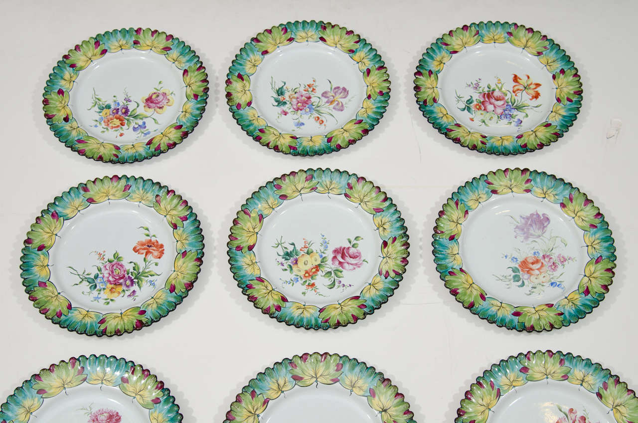 Mid-20th Century Vintage Set of Twelve Hand-Painted Tiffany & Co. Plates by Camille Le Tallec For Sale