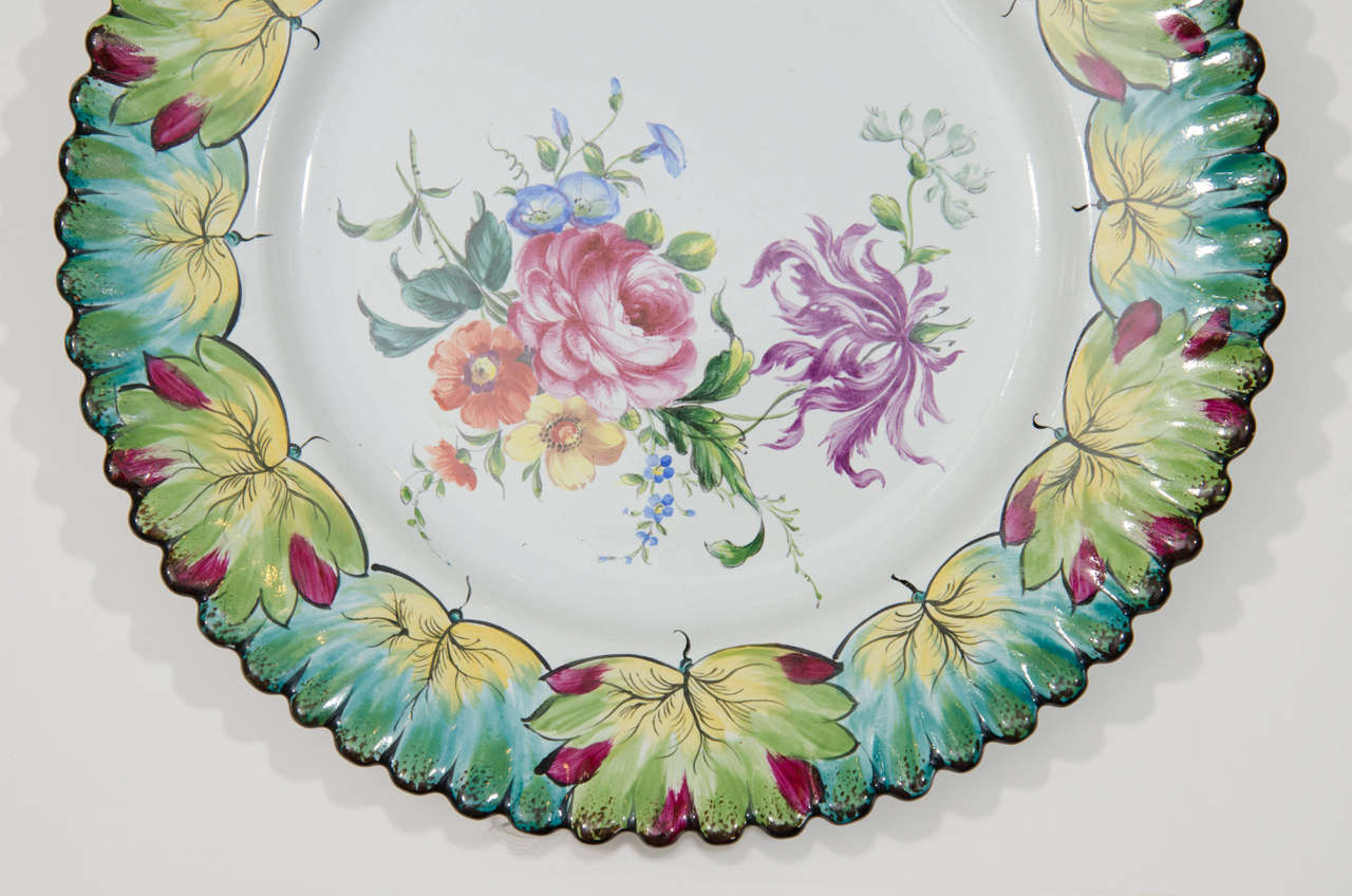 Porcelain Vintage Set of Twelve Hand-Painted Tiffany & Co. Plates by Camille Le Tallec For Sale