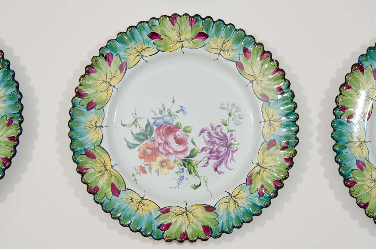 Vintage Set of Twelve Hand-Painted Tiffany & Co. Plates by Camille Le Tallec For Sale 1