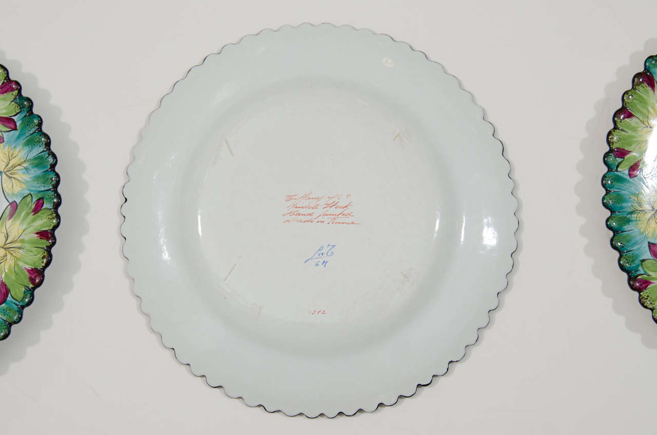 Vintage Set of Twelve Hand-Painted Tiffany & Co. Plates by Camille Le Tallec For Sale 3