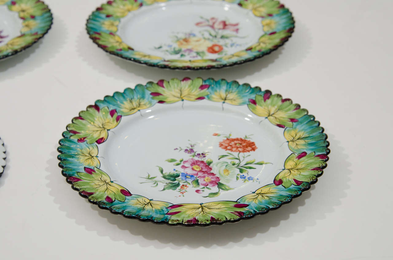 Vintage Set of Twelve Hand-Painted Tiffany & Co. Plates by Camille Le Tallec For Sale 4