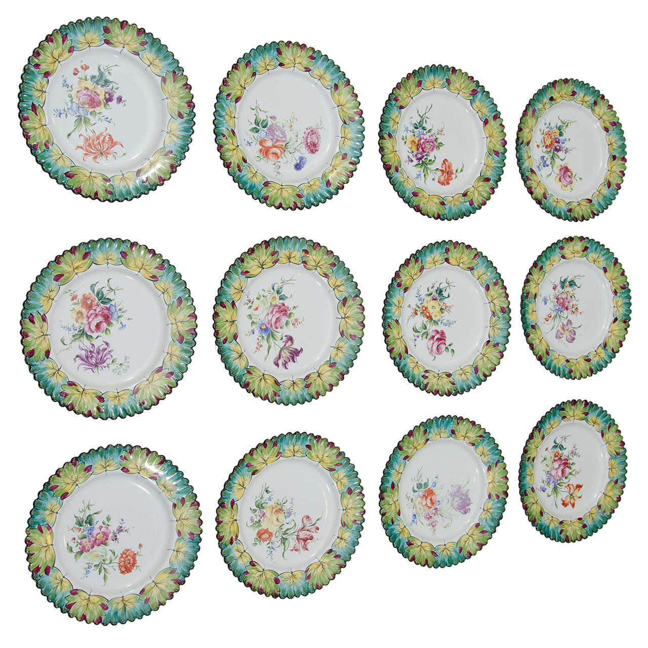 Set of 12 Cauldon Hand-Painted \ Flower Arrangement\  Dessert Plates Cobalt Blue For Sale at 1stdibs  sc 1 st  1stDibs & Set of 12 Cauldon Hand-Painted \