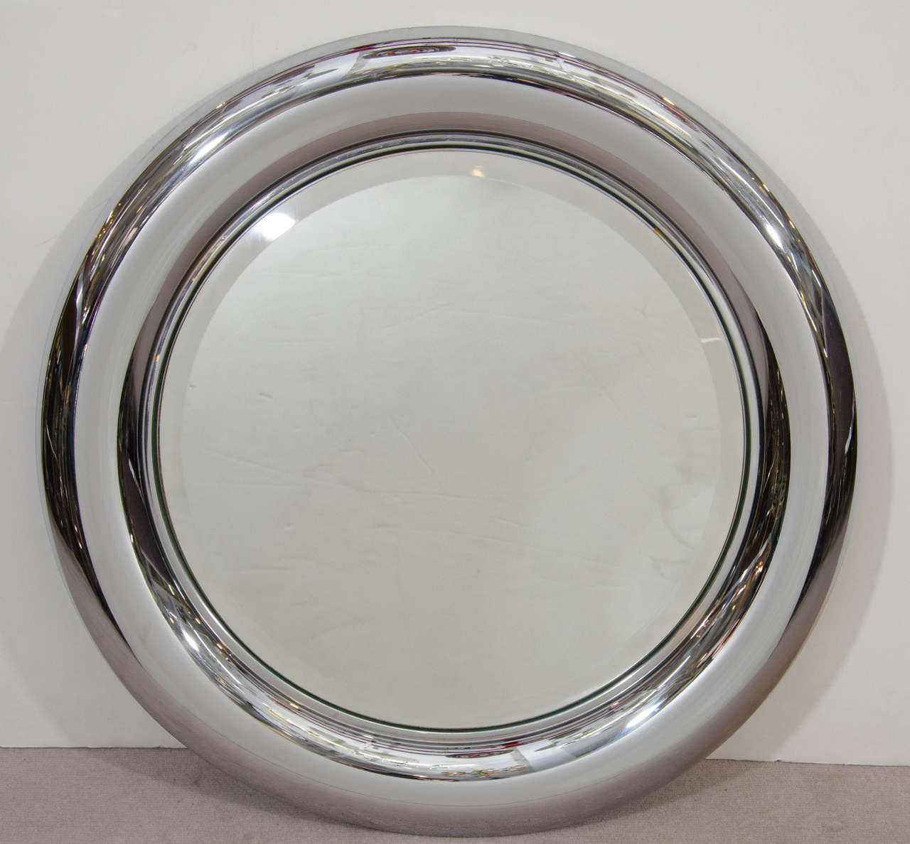 mid century italian chrome framed wall mirror by regianni 2