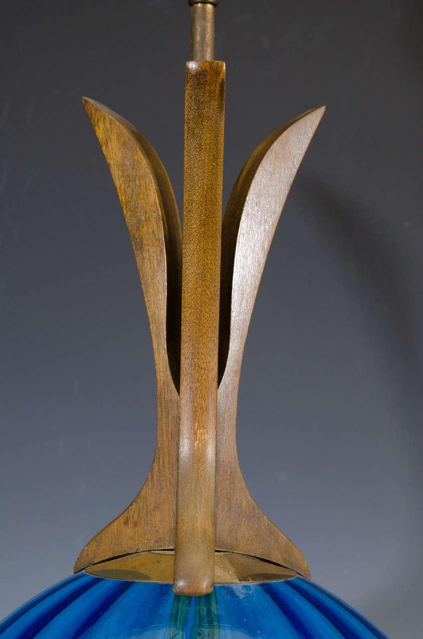 20th Century A Danish Modern Blue Glass Table Lamp