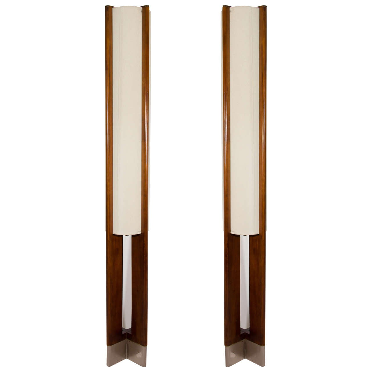 Danish Modern Pair Of Tall Wooden Floor Lamps At 1stdibs