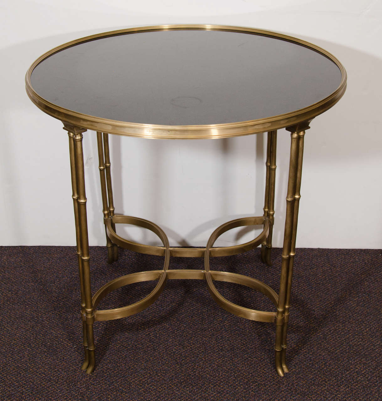 A Vintage Side Or End Table With A Bronze Frame And Base Which Is  Embellished With