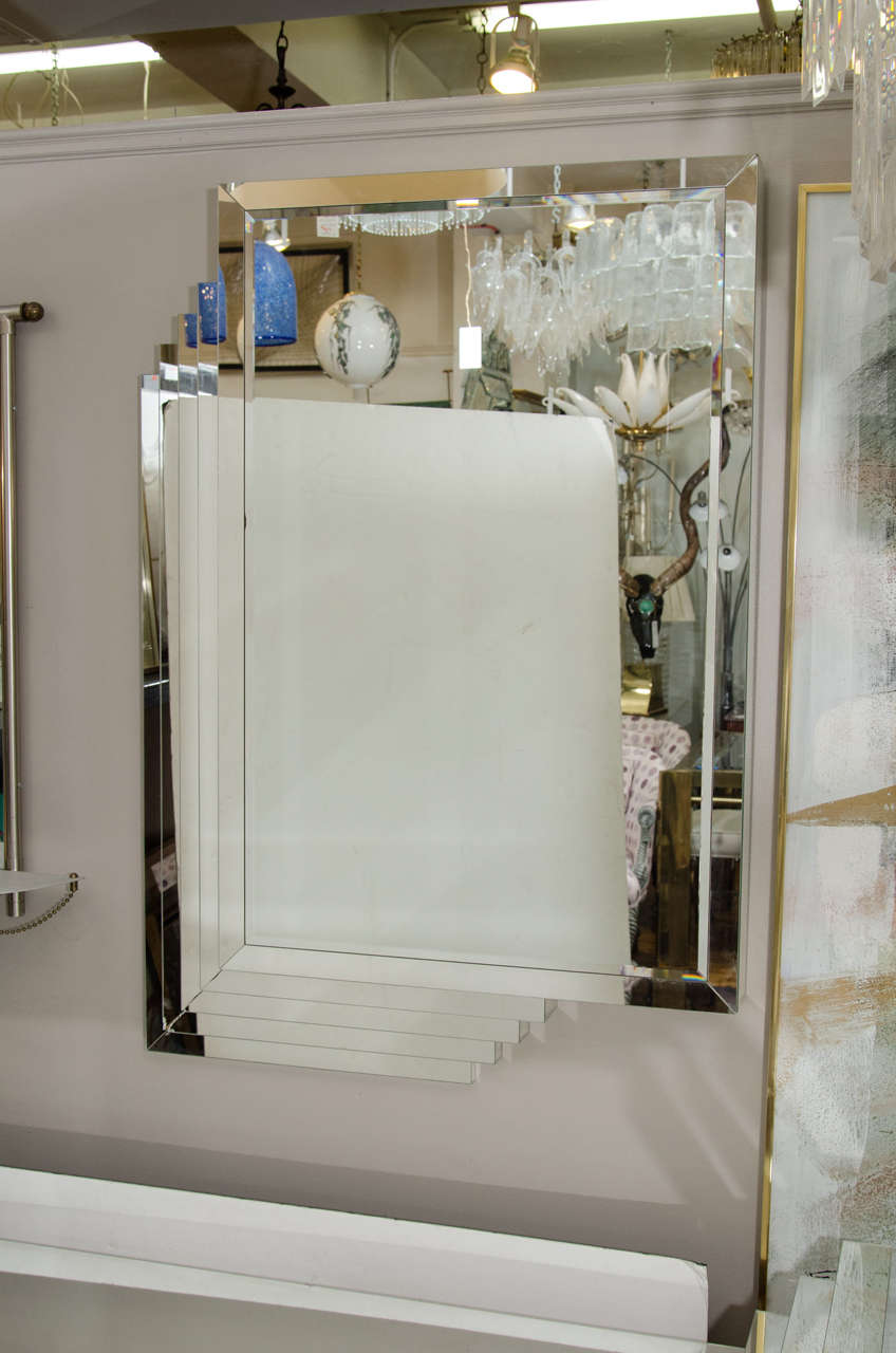 Art deco style wall mirror and matching mirrored console for Wall table with mirror