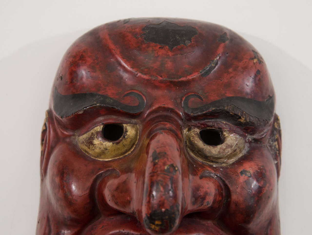 Edo Period Japanese Comic Demon Buaku Kyogen Mask In Good Condition For Sale In New York, NY