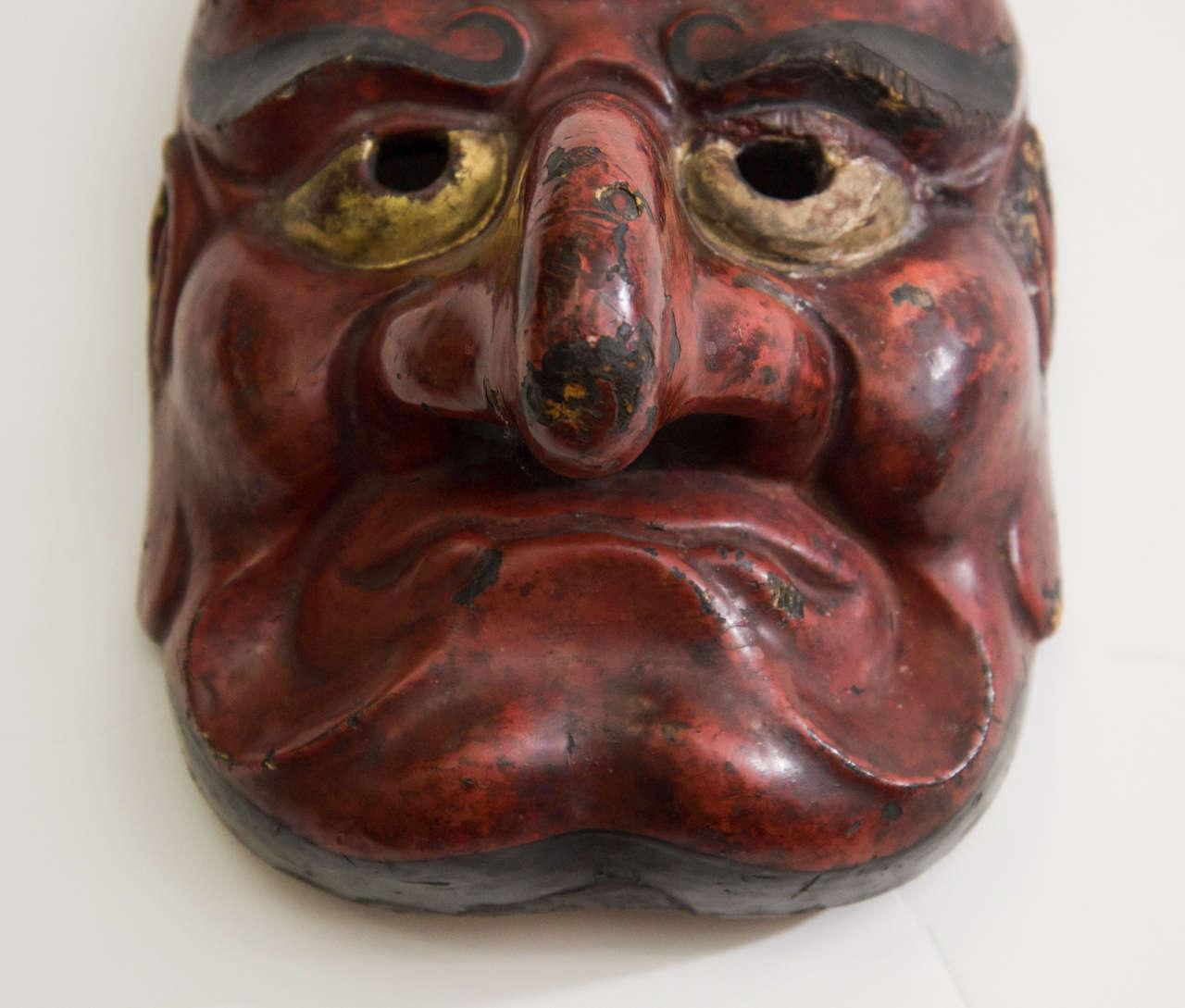 19th Century Edo Period Japanese Comic Demon Buaku Kyogen Mask For Sale