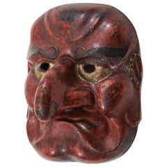 Edo Period Japanese Comic Demon Buaku Kyogen Mask