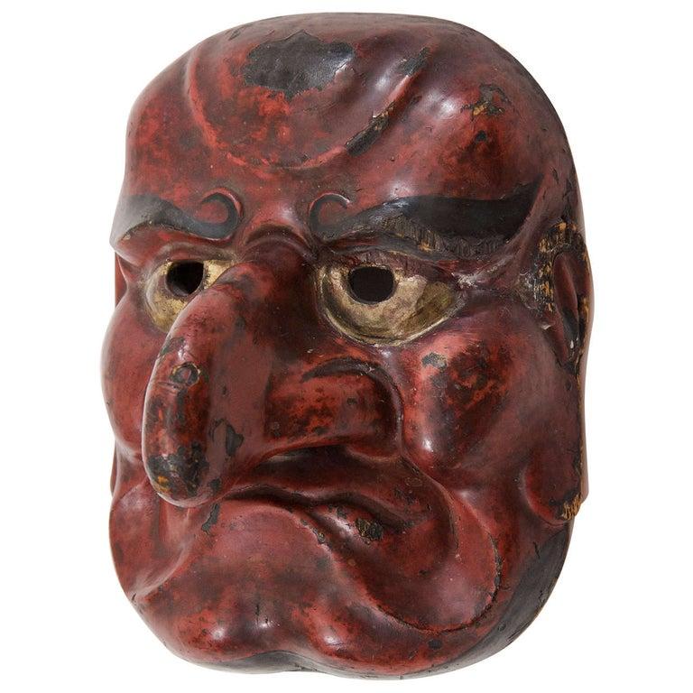 Edo Period Japanese Comic Demon Buaku Kyogen Mask For Sale