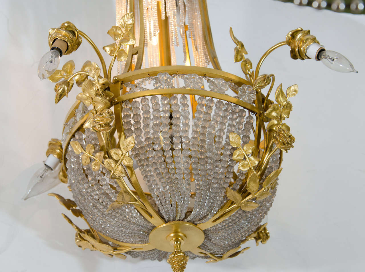 Antique French Gilt Bronze and Crystal Chandelier For Sale