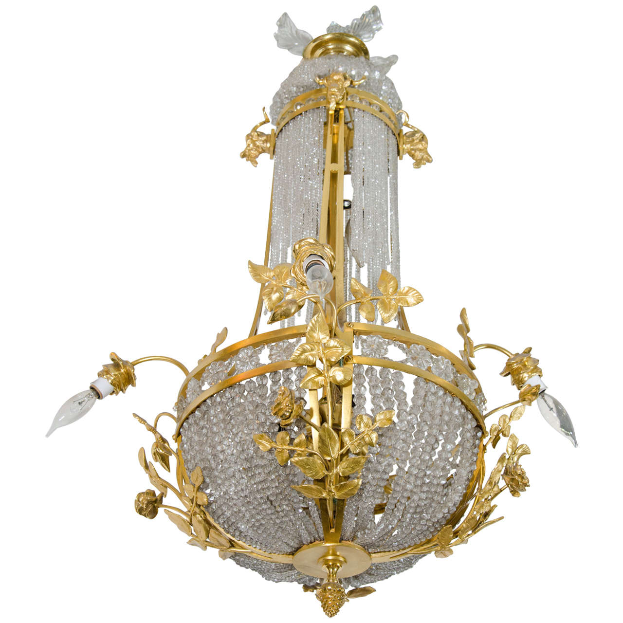 Antique French Gilt Bronze and Crystal Chandelier For Sale - Antique French Gilt Bronze And Crystal Chandelier At 1stdibs