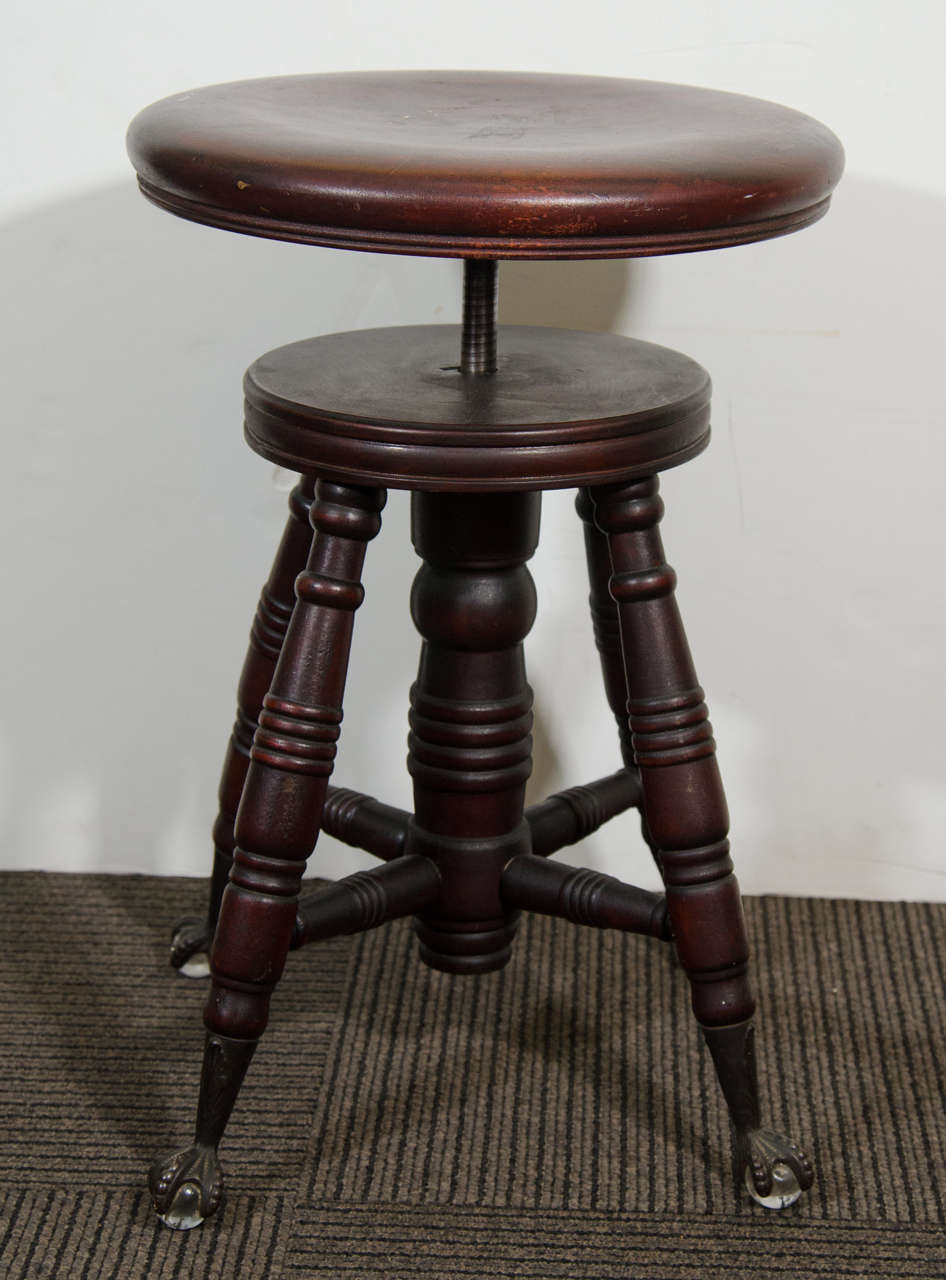 Antique Mahogany Turned Wood Adjustable Piano Stool At 1stdibs