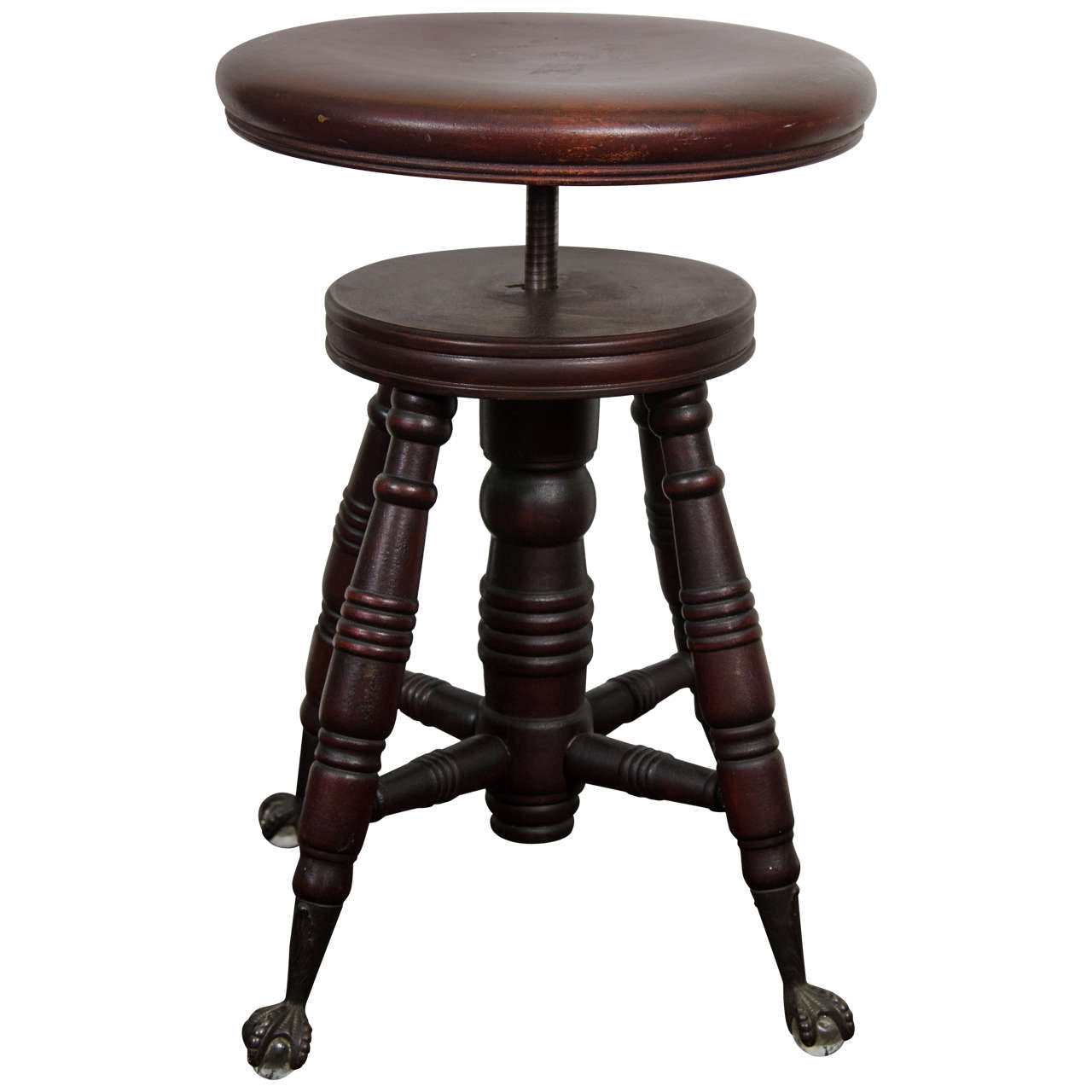 Antique mahogany turned wood adjustable piano stool at stdibs
