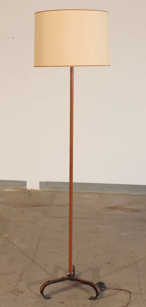 Jacques Adnet leather bound floor lamp.