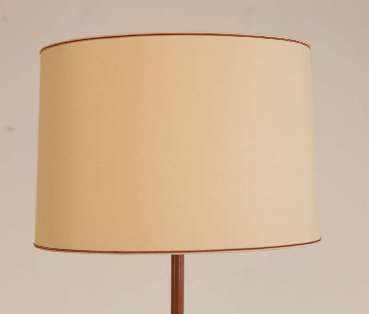 French Jacques Adnet Leather Bound Floor Lamp For Sale