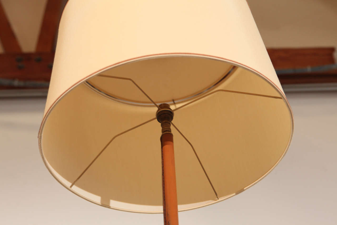 Jacques Adnet Leather Bound Floor Lamp For Sale 4