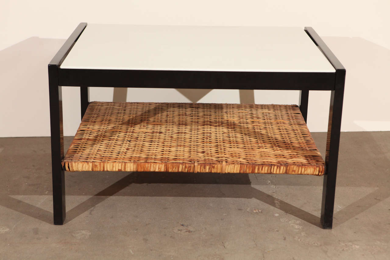 Van Keppel Green side table with rattan shelf.  1950s