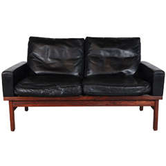 Danish Black Leather and Rosewood Settee
