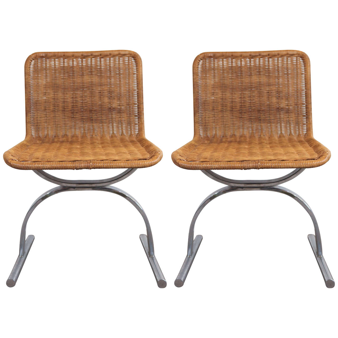 Pair of Cane and Chrome Side Chairs